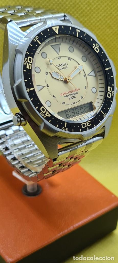 Relojes - Casio: Reloj caballero (Vintage) CASIO analógico y digital con alarma en acero, correa acero AMW 320C - 358 - Foto 4 - 248433850