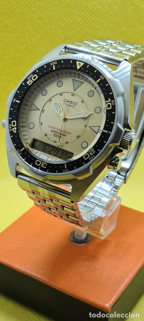 Relojes - Casio: Reloj caballero (Vintage) CASIO analógico y digital con alarma en acero, correa acero AMW 320C - 358 - Foto 5 - 248433850