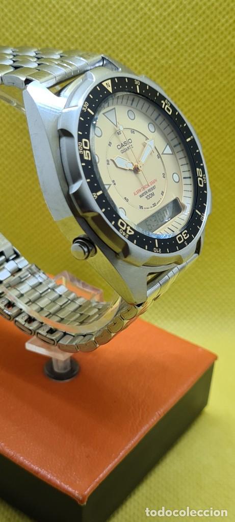 Relojes - Casio: Reloj caballero (Vintage) CASIO analógico y digital con alarma en acero, correa acero AMW 320C - 358 - Foto 6 - 248433850