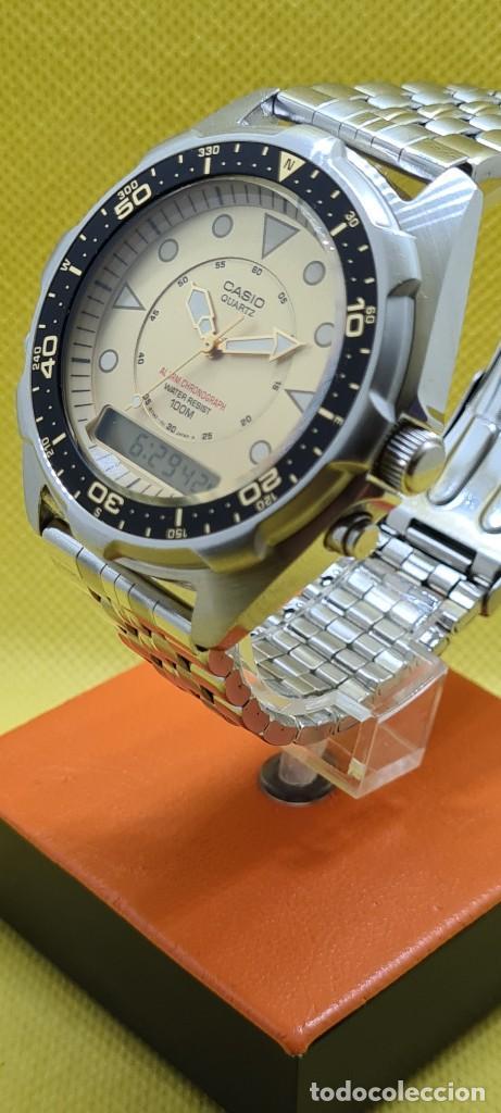 Relojes - Casio: Reloj caballero (Vintage) CASIO analógico y digital con alarma en acero, correa acero AMW 320C - 358 - Foto 7 - 248433850