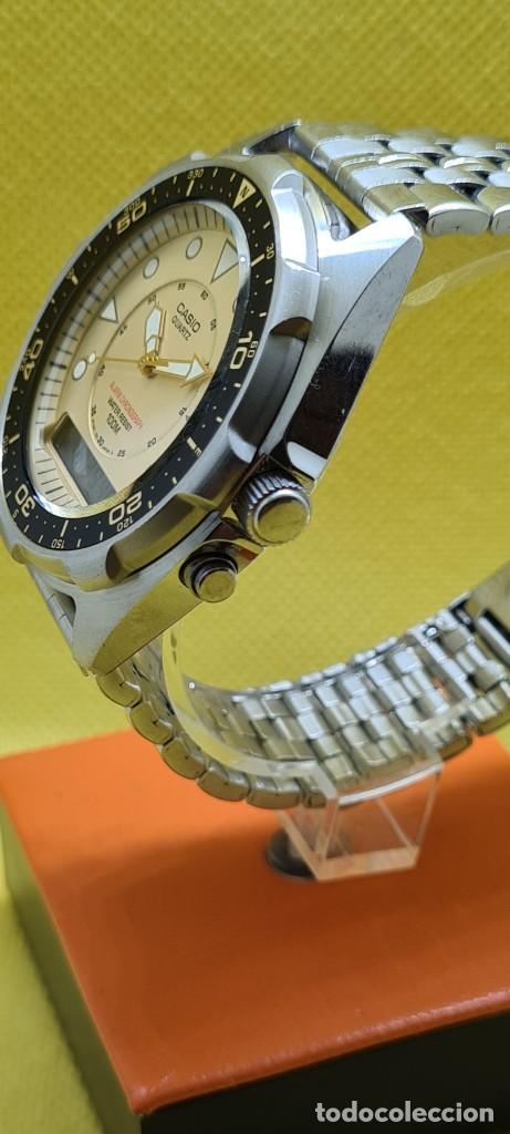 Relojes - Casio: Reloj caballero (Vintage) CASIO analógico y digital con alarma en acero, correa acero AMW 320C - 358 - Foto 9 - 248433850