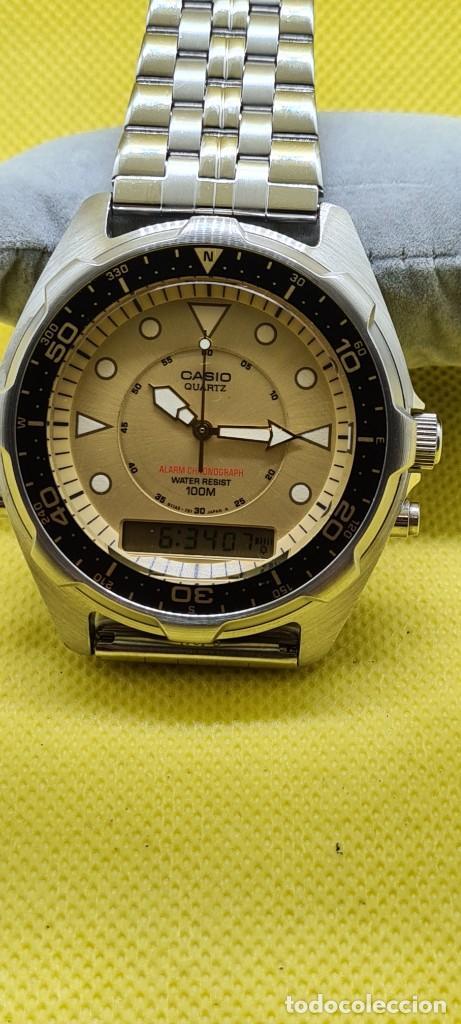 Relojes - Casio: Reloj caballero (Vintage) CASIO analógico y digital con alarma en acero, correa acero AMW 320C - 358 - Foto 14 - 248433850