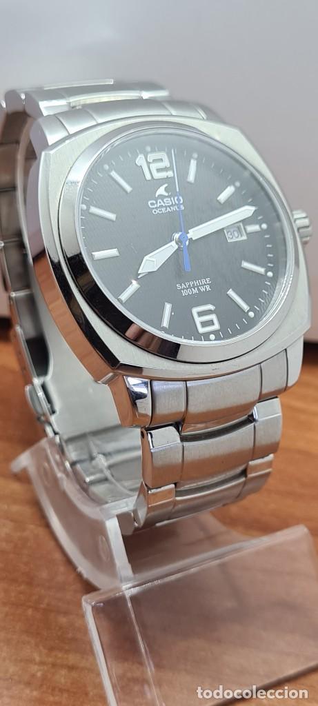 Relojes - Casio: Reloj CASIO. Oceanus cuarzo caja acero, corona rosca, esfera negra, calendario tres, correa original - Foto 5 - 284148333