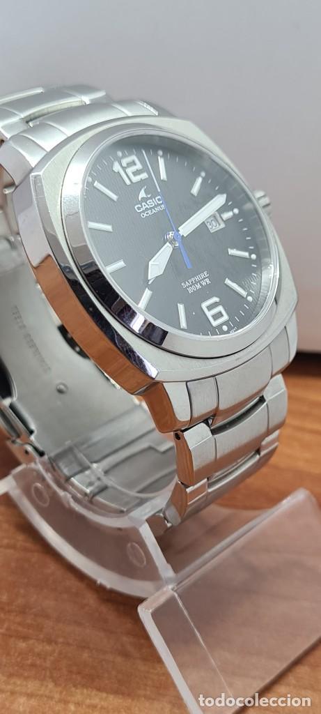 Relojes - Casio: Reloj CASIO. Oceanus cuarzo caja acero, corona rosca, esfera negra, calendario tres, correa original - Foto 7 - 284148333