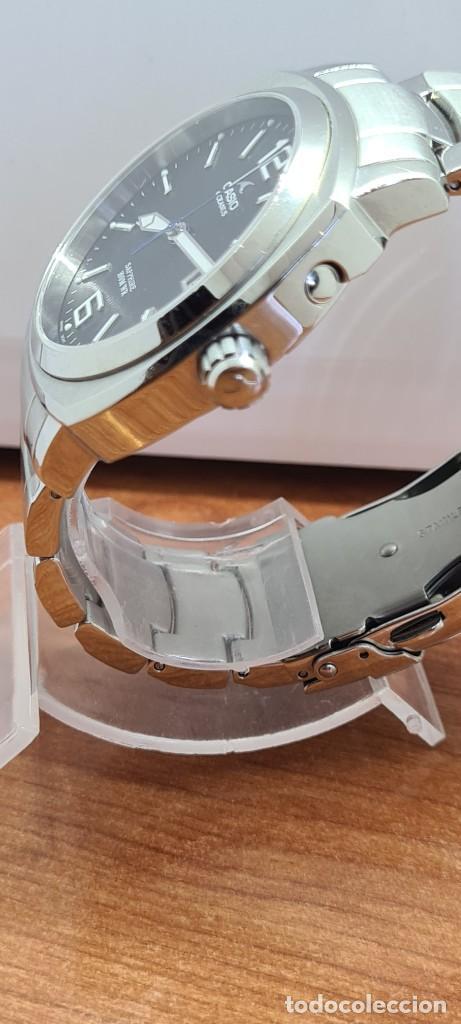 Relojes - Casio: Reloj CASIO. Oceanus cuarzo caja acero, corona rosca, esfera negra, calendario tres, correa original - Foto 8 - 284148333
