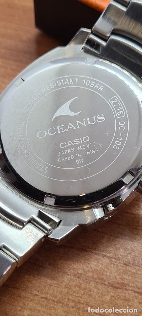 Relojes - Casio: Reloj CASIO. Oceanus cuarzo caja acero, corona rosca, esfera negra, calendario tres, correa original - Foto 9 - 284148333