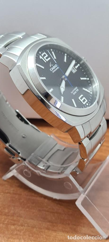 Relojes - Casio: Reloj CASIO. Oceanus cuarzo caja acero, corona rosca, esfera negra, calendario tres, correa original - Foto 10 - 284148333