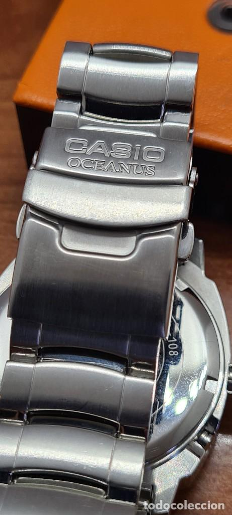 Relojes - Casio: Reloj CASIO. Oceanus cuarzo caja acero, corona rosca, esfera negra, calendario tres, correa original - Foto 13 - 284148333