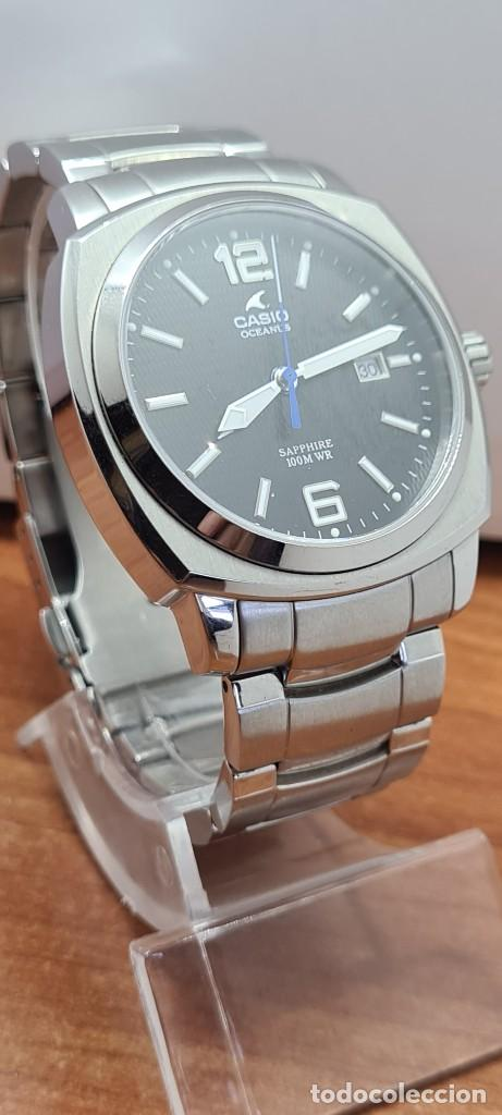 Relojes - Casio: Reloj CASIO. Oceanus cuarzo caja acero, corona rosca, esfera negra, calendario tres, correa original - Foto 15 - 284148333