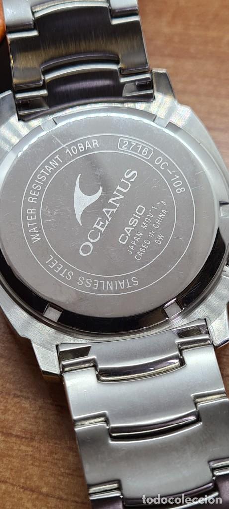 Relojes - Casio: Reloj CASIO. Oceanus cuarzo caja acero, corona rosca, esfera negra, calendario tres, correa original - Foto 16 - 284148333