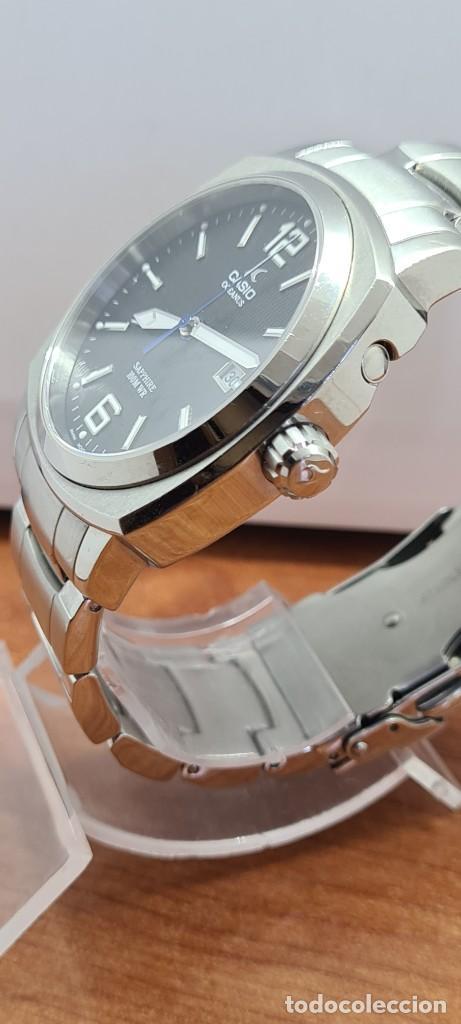 Relojes - Casio: Reloj CASIO. Oceanus cuarzo caja acero, corona rosca, esfera negra, calendario tres, correa original - Foto 17 - 284148333