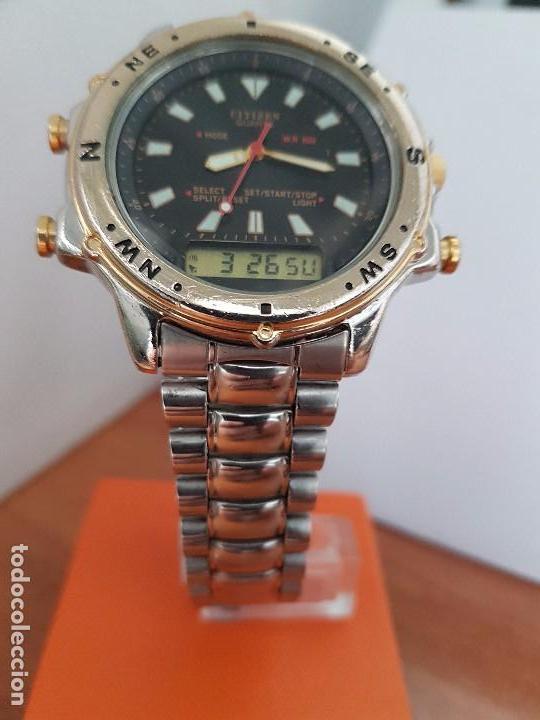 Relojes - Citizen: Reloj de caballero (Vintage) CITIZEN cuarzo, Analógico y digital, cronografo, bicolor, correa acero - Foto 2 - 81947296