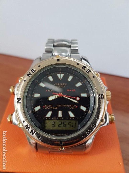 Relojes - Citizen: Reloj de caballero (Vintage) CITIZEN cuarzo, Analógico y digital, cronografo, bicolor, correa acero - Foto 3 - 81947296
