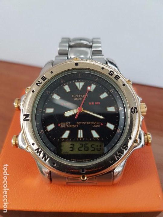 Relojes - Citizen: Reloj de caballero (Vintage) CITIZEN cuarzo, Analógico y digital, cronografo, bicolor, correa acero - Foto 6 - 81947296