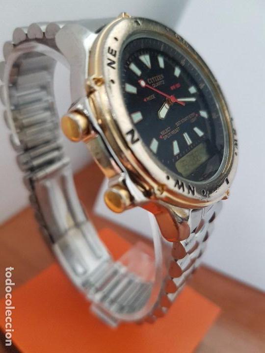 Relojes - Citizen: Reloj de caballero (Vintage) CITIZEN cuarzo, Analógico y digital, cronografo, bicolor, correa acero - Foto 8 - 81947296