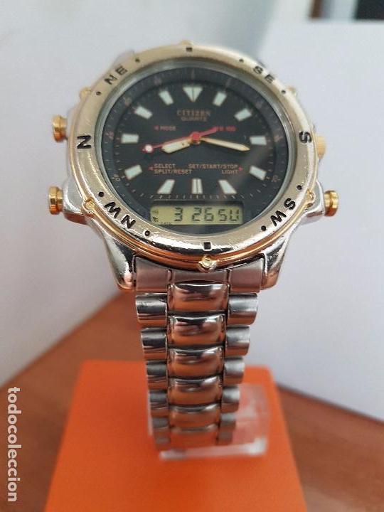 Relojes - Citizen: Reloj de caballero (Vintage) CITIZEN cuarzo, Analógico y digital, cronografo, bicolor, correa acero - Foto 9 - 81947296