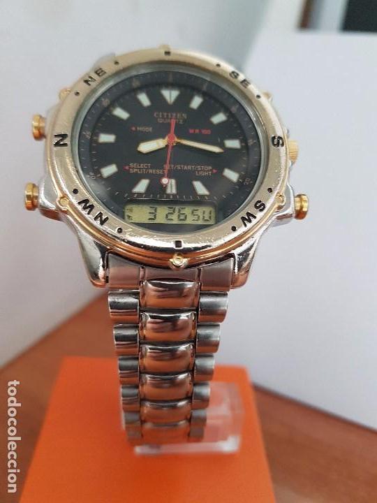 Relojes - Citizen: Reloj de caballero (Vintage) CITIZEN cuarzo, Analógico y digital, cronografo, bicolor, correa acero - Foto 13 - 81947296