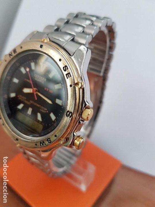 Relojes - Citizen: Reloj de caballero (Vintage) CITIZEN cuarzo, Analógico y digital, cronografo, bicolor, correa acero - Foto 17 - 81947296