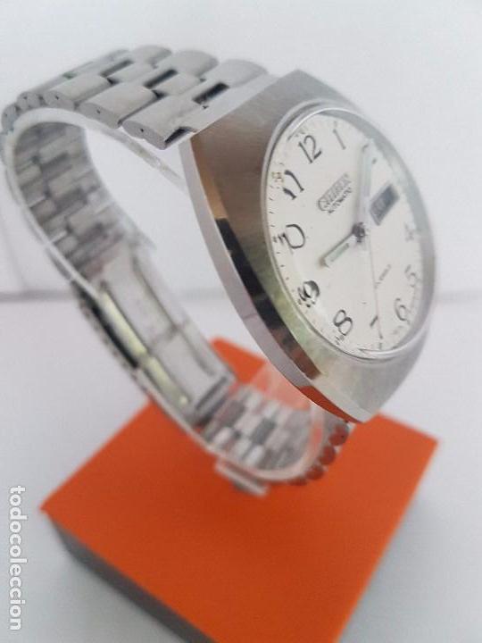 Relojes - Citizen: Reloj caballero (Vintage) CITIZEN automático acero con doble calendario a las tres, correa de acero - Foto 2 - 92341855