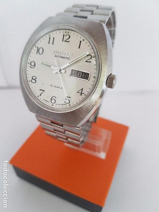 Relojes - Citizen: Reloj caballero (Vintage) CITIZEN automático acero con doble calendario a las tres, correa de acero - Foto 3 - 92341855