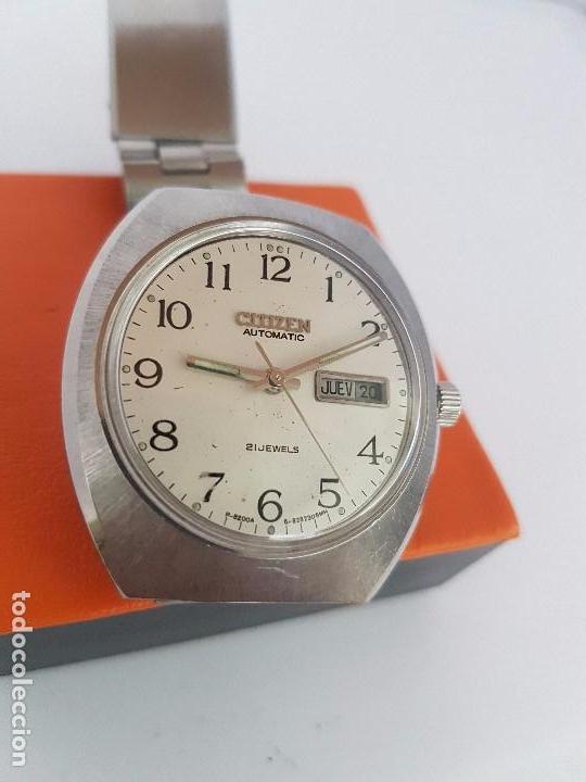 Relojes - Citizen: Reloj caballero (Vintage) CITIZEN automático acero con doble calendario a las tres, correa de acero - Foto 4 - 92341855