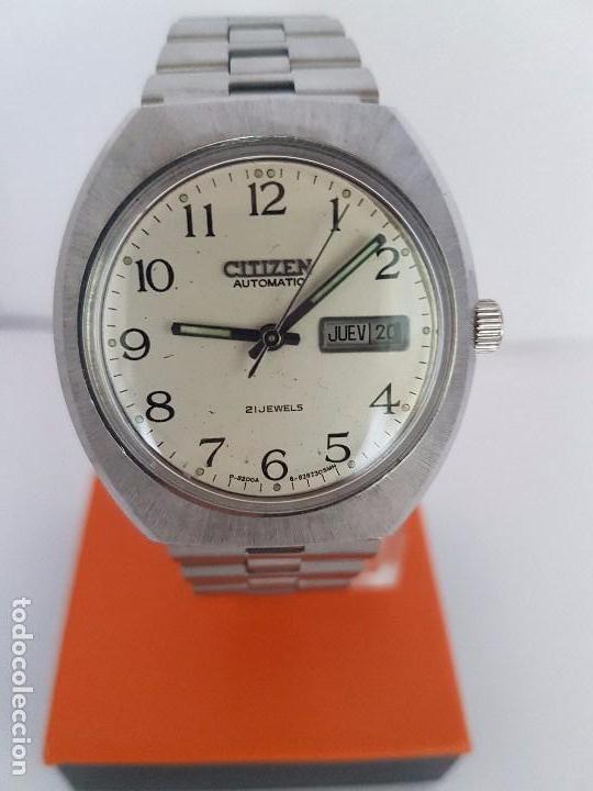 Relojes - Citizen: Reloj caballero (Vintage) CITIZEN automático acero con doble calendario a las tres, correa de acero - Foto 5 - 92341855