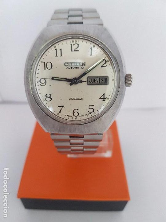 Relojes - Citizen: Reloj caballero (Vintage) CITIZEN automático acero con doble calendario a las tres, correa de acero - Foto 12 - 92341855
