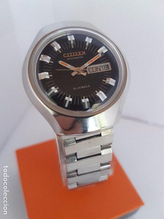 Relojes - Citizen: Reloj caballero (Vintage) CITIZEN automático acero con doble calendario a tres horas correa acero. - Foto 2 - 92369600