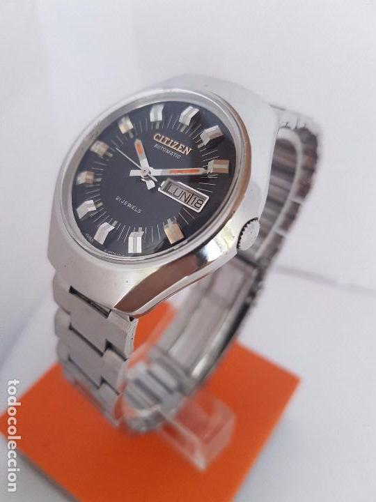 Relojes - Citizen: Reloj caballero (Vintage) CITIZEN automático acero con doble calendario a tres horas correa acero. - Foto 3 - 92369600