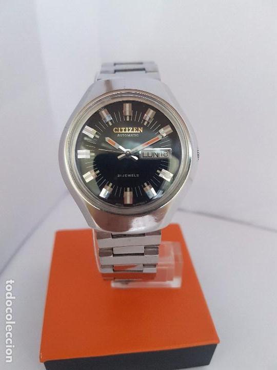 Relojes - Citizen: Reloj caballero (Vintage) CITIZEN automático acero con doble calendario a tres horas correa acero. - Foto 4 - 92369600