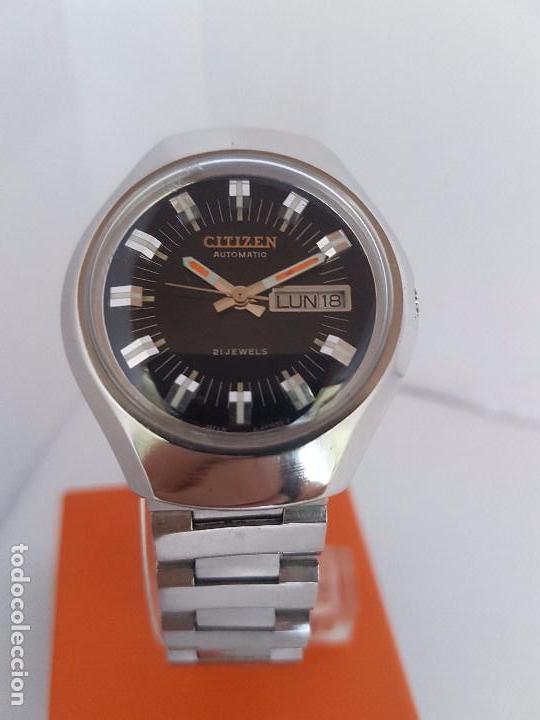 Relojes - Citizen: Reloj caballero (Vintage) CITIZEN automático acero con doble calendario a tres horas correa acero. - Foto 12 - 92369600