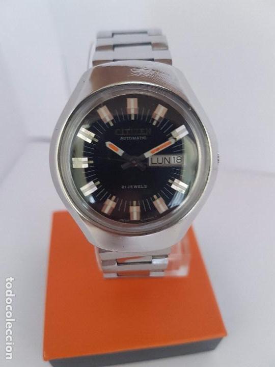 Relojes - Citizen: Reloj caballero (Vintage) CITIZEN automático acero con doble calendario a tres horas correa acero. - Foto 16 - 92369600