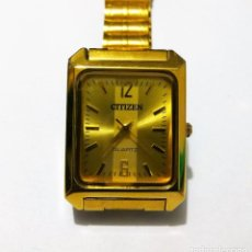 Relojes - Citizen: RELOJ CÍTIZEN DE LUJO GOLD PLATED QUARTZ RECTANGULAR JAPONES. Lote 121193443