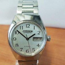Relojes - Citizen: RELOJ DE CABALLERO (VINTAGE) ACERO CITIZEN AUTOMÁTICO CON DOBLE CALENDARIO A LAS TRES, CORREA ACERO . Lote 123060315