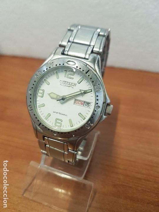 Relojes - Citizen: Reloj caballero Vintage CITIZEN automático en acero con doble calendario, correa de acero original - Foto 2 - 138774650
