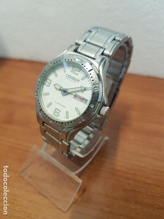 Relojes - Citizen: Reloj caballero Vintage CITIZEN automático en acero con doble calendario, correa de acero original - Foto 6 - 138774650