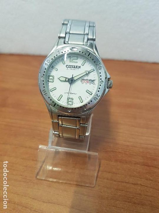 Relojes - Citizen: Reloj caballero Vintage CITIZEN automático en acero con doble calendario, correa de acero original - Foto 8 - 138774650