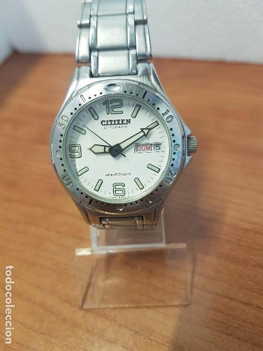 Relojes - Citizen: Reloj caballero Vintage CITIZEN automático en acero con doble calendario, correa de acero original - Foto 10 - 138774650