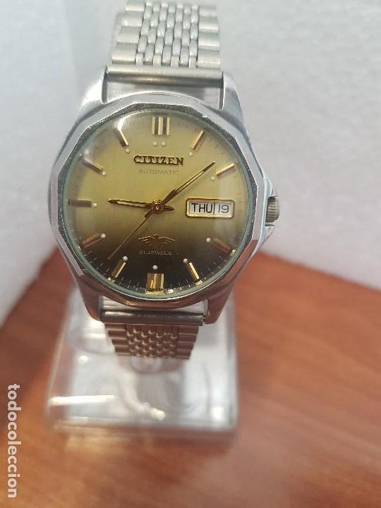 Relojes - Citizen: Reloj de caballero (Vintage) CITIZEN acero automático con doble calendario a las tres correa acero - Foto 2 - 157814654