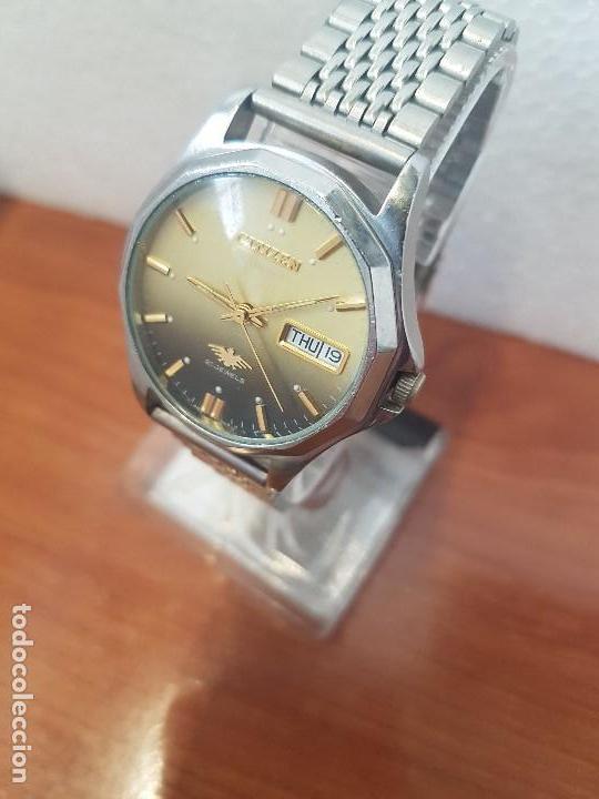 Relojes - Citizen: Reloj de caballero (Vintage) CITIZEN acero automático con doble calendario a las tres correa acero - Foto 3 - 157814654