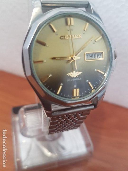 Relojes - Citizen: Reloj de caballero (Vintage) CITIZEN acero automático con doble calendario a las tres correa acero - Foto 12 - 157814654