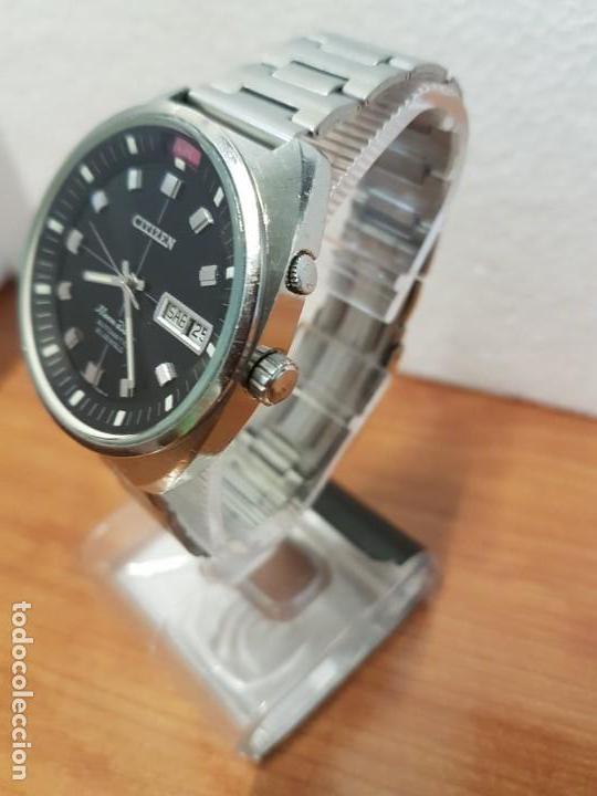 Relojes - Citizen: Reloj de caballero (Vintage) CITIZEN acero automático con doble calendario a las tres, año las doce - Foto 17 - 192175538