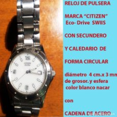 Relojes - Citizen: RELOJ CITIZEN ECO DRIVE, WATCH, NºS. ARABIGOS, SECUNDERO, CALENDARIO CON PULSERA ORIGINAL.SEMINUEVO.. Lote 178269157