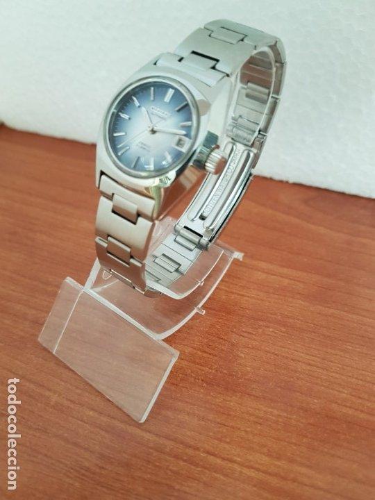 Relojes - Citizen: Reloj señora acero (Vintage) CITIZEN automático nuevo sin uso, esfera azulada, correa acero original - Foto 2 - 178298415