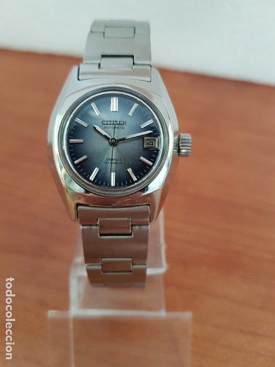 Relojes - Citizen: Reloj señora acero (Vintage) CITIZEN automático nuevo sin uso, esfera azulada, correa acero original - Foto 11 - 178298415