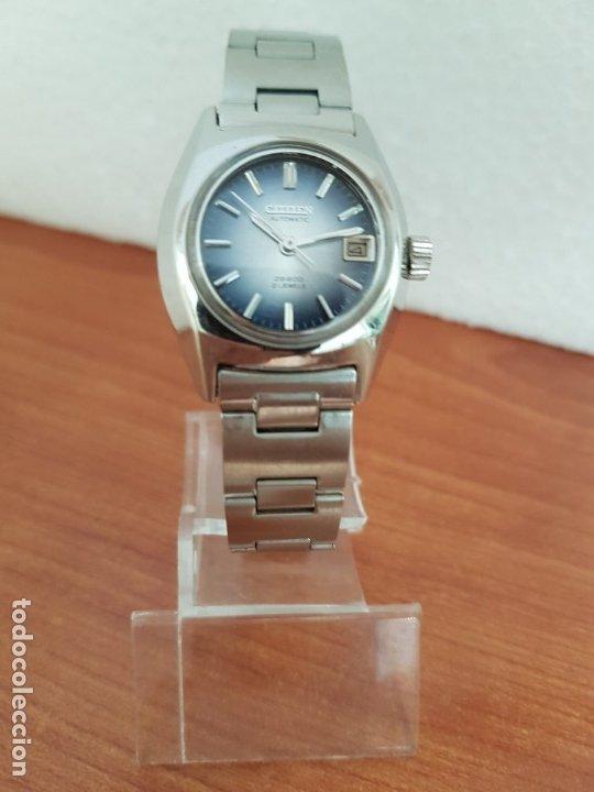 Relojes - Citizen: Reloj señora acero (Vintage) CITIZEN automático nuevo sin uso, esfera azulada, correa acero original - Foto 15 - 178298415