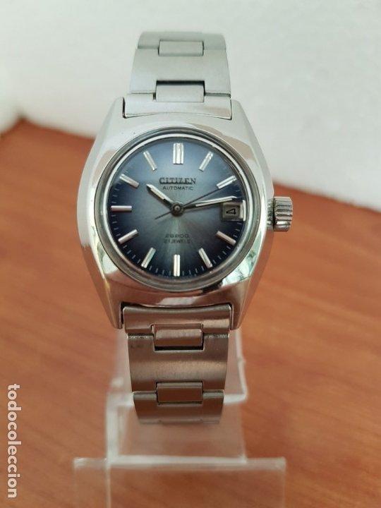 Relojes - Citizen: Reloj señora acero (Vintage) CITIZEN automático nuevo sin uso, esfera azulada, correa acero original - Foto 18 - 178298415