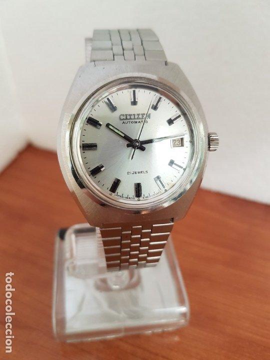 Relojes - Citizen: Reloj caballero (Vintage) CITIZEN acero automático con calendario a las tres horas, correa de acero - Foto 7 - 178300062