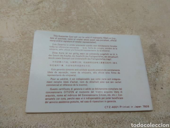Relojes - Citizen: Libro Garantía Internacional Reloj Citizen Quartz 1979 - Foto 2 - 185937878