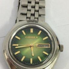 Relojes - Citizen: RELOJ CITIZEN AUTOMÁTICO ESFERA VERDE EN ACERO COMPLETO MODELO61-8730. Lote 186326560
